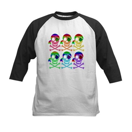 Rainbow Pirate Skulls Kids Baseball Jersey