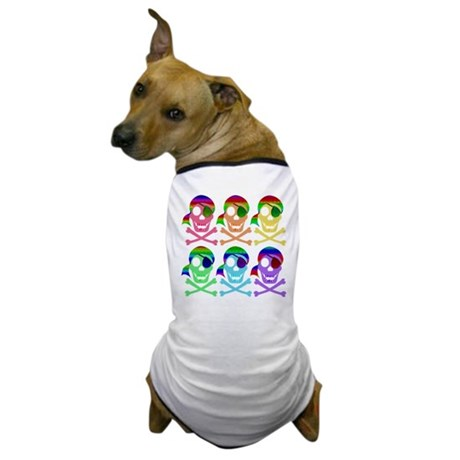 Rainbow Pirate Skulls Dog T-Shirt