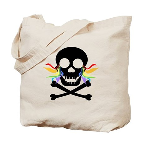 Black Skull Rainbow Tears Tote Bag