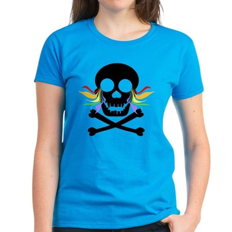Black Skull Rainbow Tears Women's Dark T-Shirt