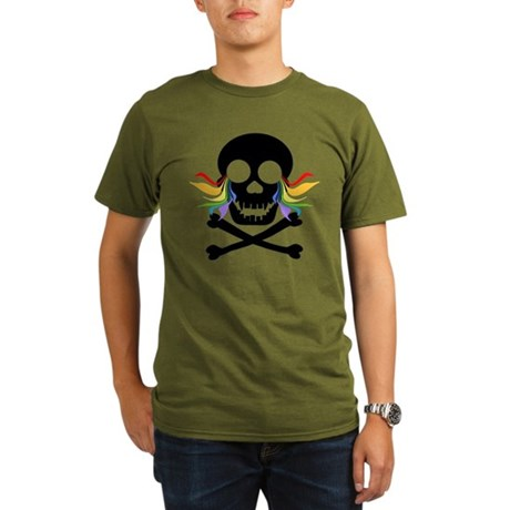 Black Skull Rainbow Tears Organic Men's T-Shirt (d