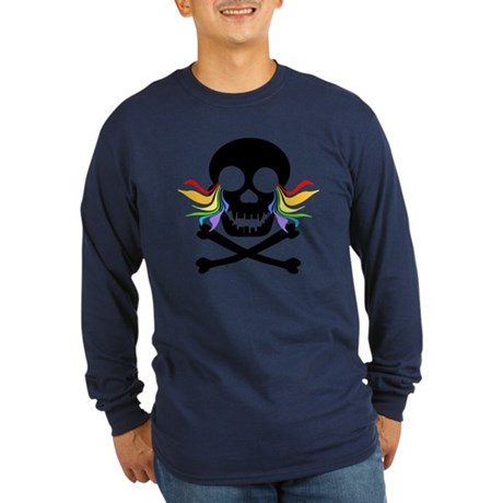 Black Skull Rainbow Tears Long Sleeve Dark T-Shirt