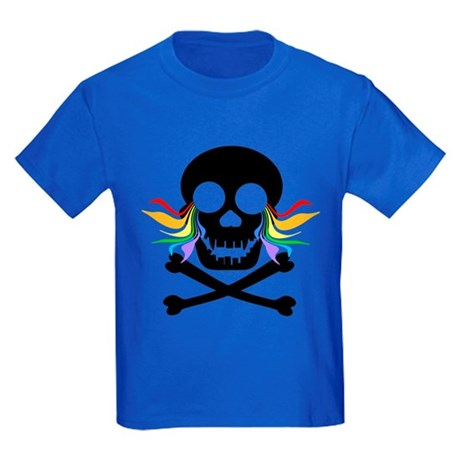 Black Skull Rainbow Tears Kids Dark T-Shirt