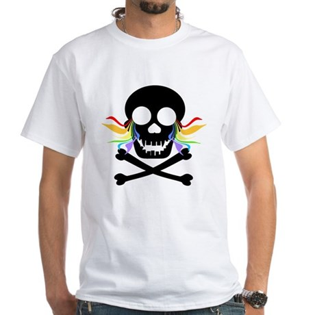 Black Skull Rainbow Tears White T-Shirt