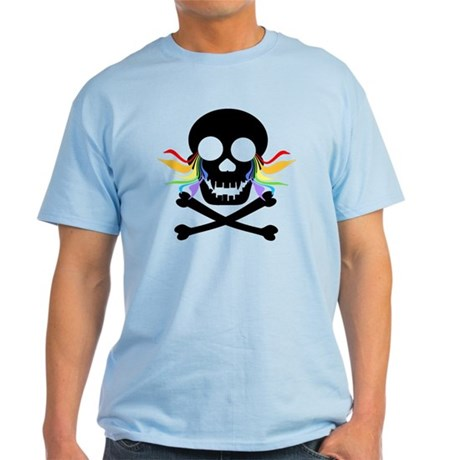 Black Skull Rainbow Tears Light T-Shirt