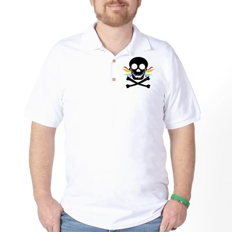 Black Skull Rainbow Tears Golf Shirt