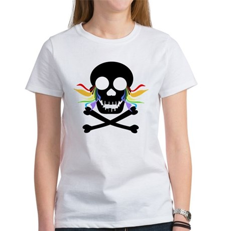 Black Skull Rainbow Tears Women's T-Shirt