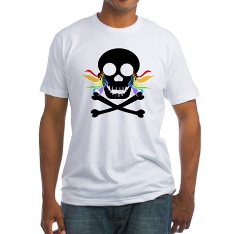Black Skull Rainbow Tears Fitted T-Shirt