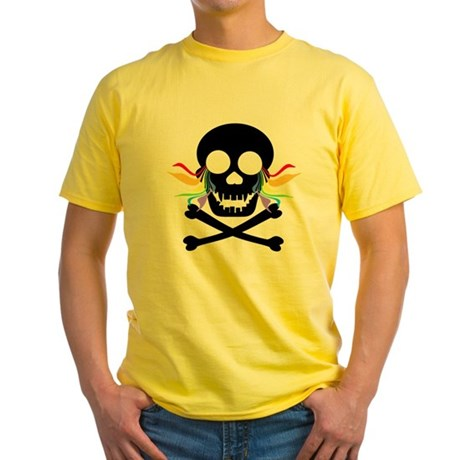 Black Skull Rainbow Tears Yellow T-Shirt