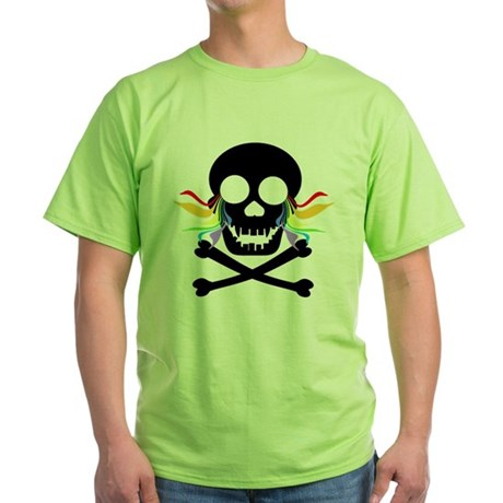 Black Skull Rainbow Tears Green T-Shirt
