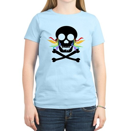 Black Skull Rainbow Tears Women's Light T-Shirt