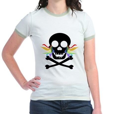 Black Skull Rainbow Tears Jr. Ringer T-Shirt