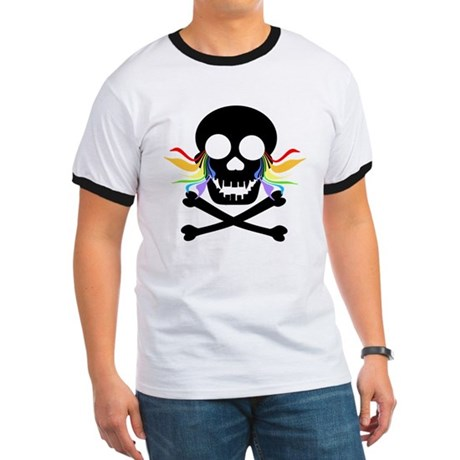 Black Skull Rainbow Tears Ringer T