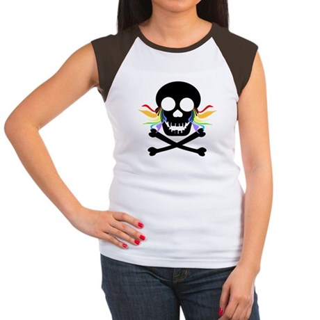 Black Skull Rainbow Tears Women's Cap Sleeve T-Shi