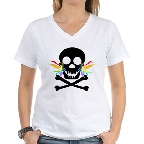 Black Skull Rainbow Tears Women's V-Neck T-Shirt