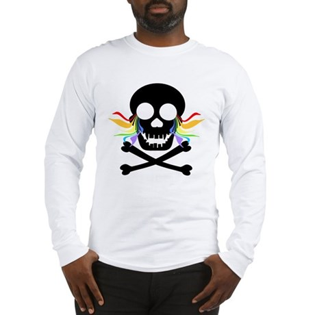 Black Skull Rainbow Tears Long Sleeve T-Shirt