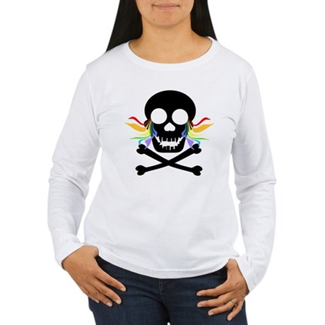 Black Skull Rainbow Tears Women's Long Sleeve T-Sh