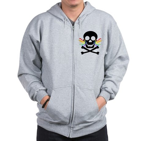 Black Skull Rainbow Tears Zip Hoodie