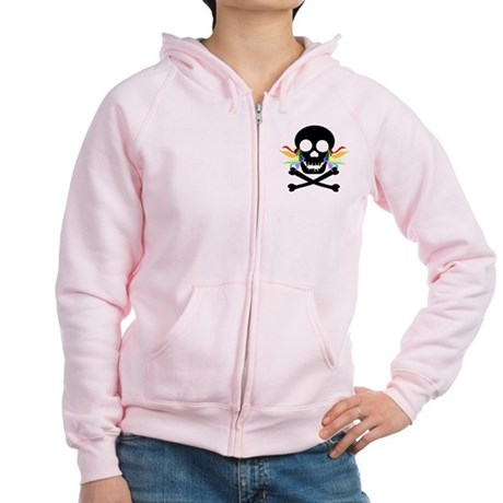 Black Skull Rainbow Tears Women's Zip Hoodie
