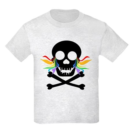 Black Skull Rainbow Tears Kids Light T-Shirt