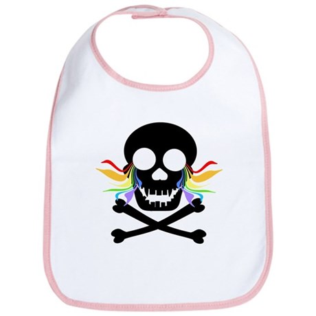 Black Skull Rainbow Tears Bib
