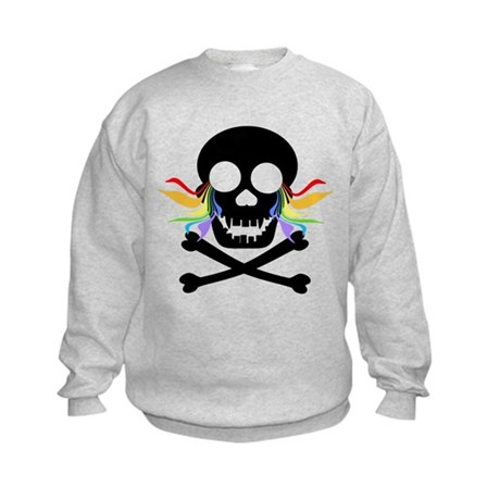 Black Skull Rainbow Tears Kids Sweatshirt