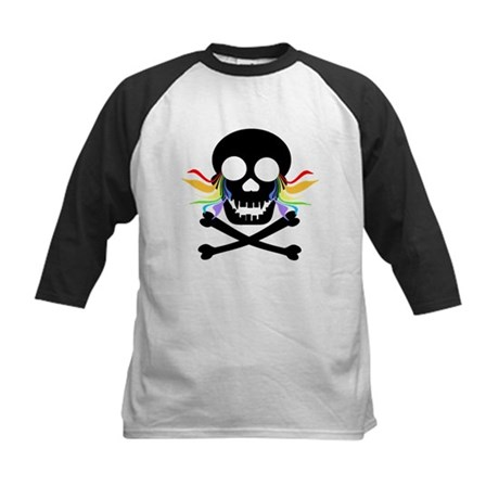 Black Skull Rainbow Tears Kids Baseball Jersey