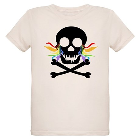 Black Skull Rainbow Tears Organic Kids T-Shirt