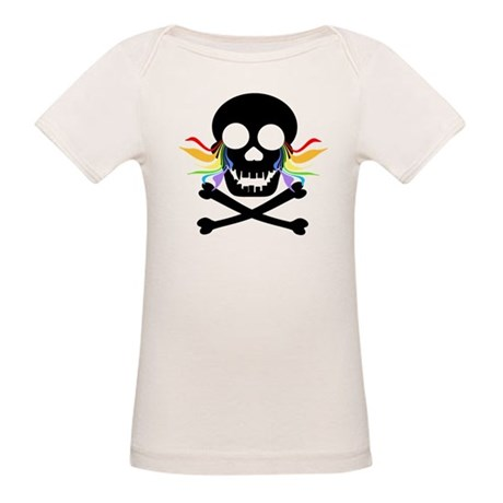Black Skull Rainbow Tears Organic Baby T-Shirt