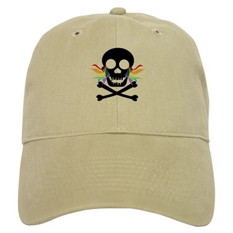 Black Skull Rainbow Tears Cap