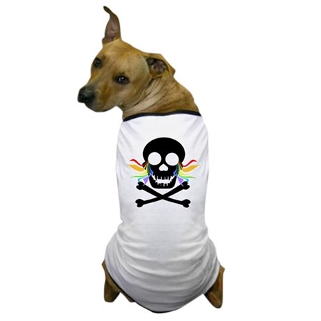 Black Skull Rainbow Tears Dog T-Shirt