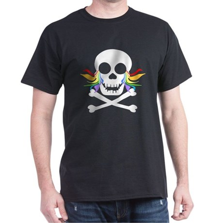 Rainbow Tears White Skull Dark T-Shirt