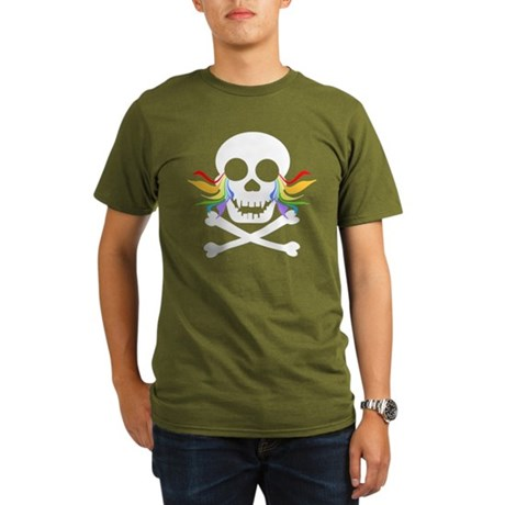 Rainbow Tears White Skull Organic Men's T-Shirt (d