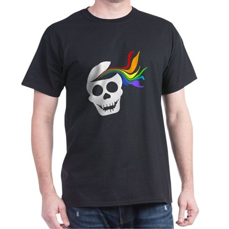 Rainbow White Skull Dark T-Shirt