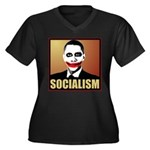 Socialism Joker Women's Plus Size V-Neck Dark T-Sh