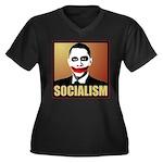 Socialism Joker Women's Plus Size V-Neck Dark T-Sh