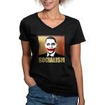 Socialism Joker Women's V-Neck Dark T-Shirt