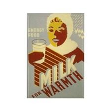 Milk for Warmth WPA Art Rectangle Magnet