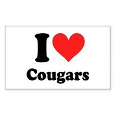 I Heart Cougars: Rectangle Decal