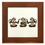 3 Monkeys! Framed Tile