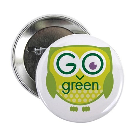 Go Green Owl Button