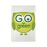 Go Green Owl Rectangle Magnet