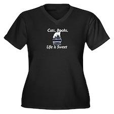 Cat on Books Women's Plus Size V-Neck Dark T-Shirt