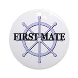 First Mate Ship Wheel Ornament (Round)