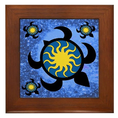 Sun Turtles Framed Tile