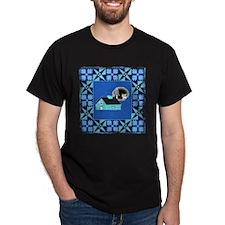 Log cabin Quilt  Black T-Shirt