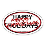 Merry Christmas Oval Bumper Stickers