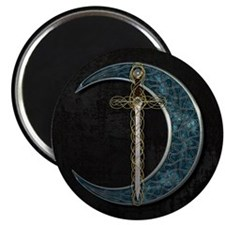 Colorful Celtic Moon and Swor Magnet
