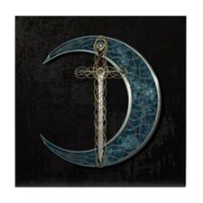 Colorful Celtic Moon and Swor Tile Coaster