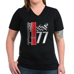 Mustang 1977 Women's V-Neck Dark T-Shirt